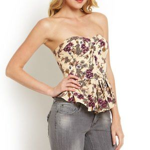 Jessica Simpson Floral Peplum Bustier Alana Size S